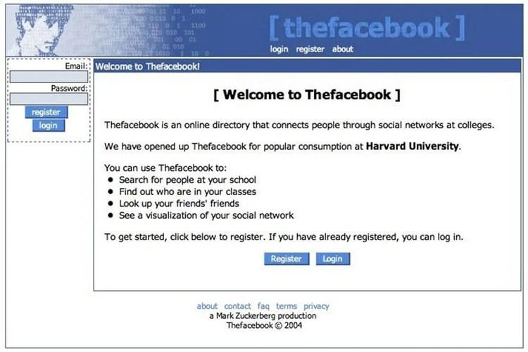 Así era la estética de la red social cuando nació, en 2004.