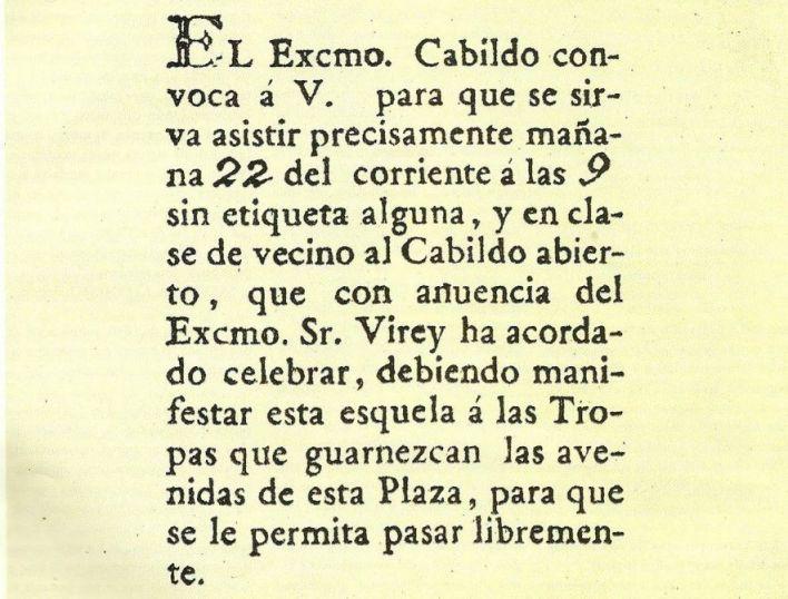 Invitación al Cabildo Abierto para la histórica jornada del 22 de mayo.