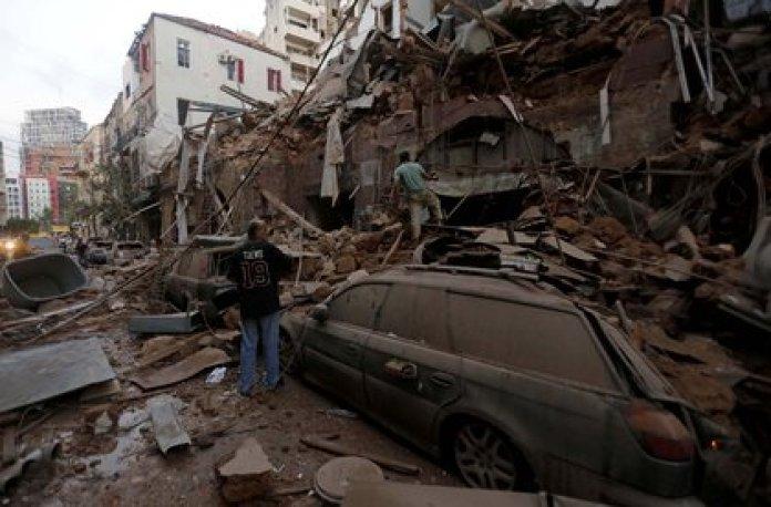 La explosión provocó serios daños y destrozos (Marwan Tahtah/APA Images via ZUMA)