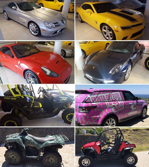 Parte de la flota de autos de lujos secuestrados en Punta del Este por la justicia uruguaya valuada en unos dos millones de dólares. Entre los vehículos se destaca una Ferrari.