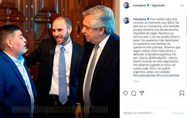 El posteo de Diego Maradona en Instagram