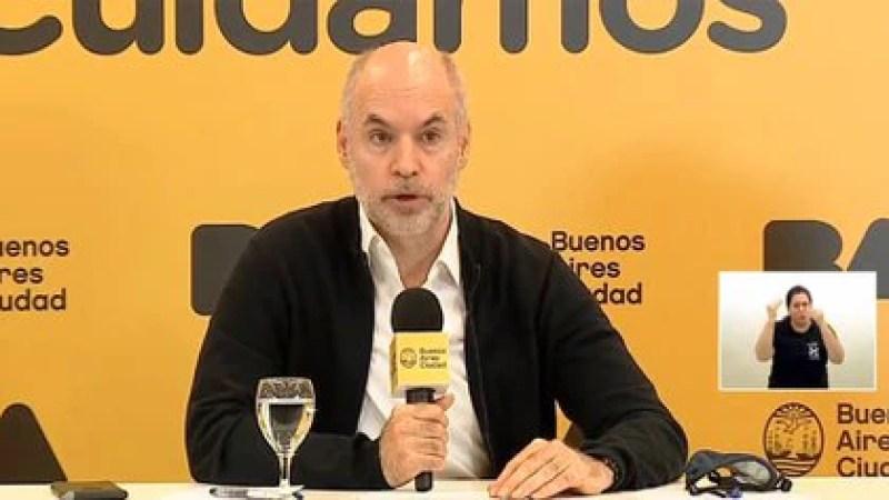 Horacio Rodríguez Larreta, en conferencia de prensa. Ayer anunció nuevas flexibilizaciones de la cuarentena en la Ciudad.