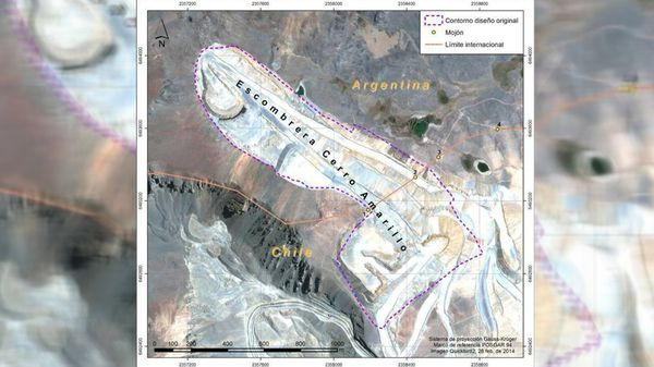 El mapa muestra que la mitad de la escombrera está en territorio argentino.