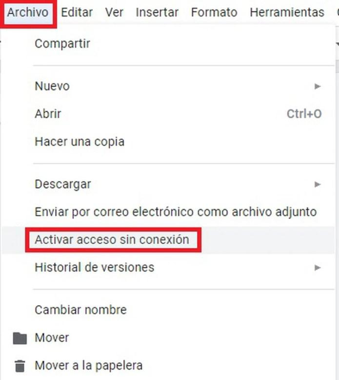 """La opción """"Activar acceso sin conexión"""" está dentro del menú """"Archivo""""."""