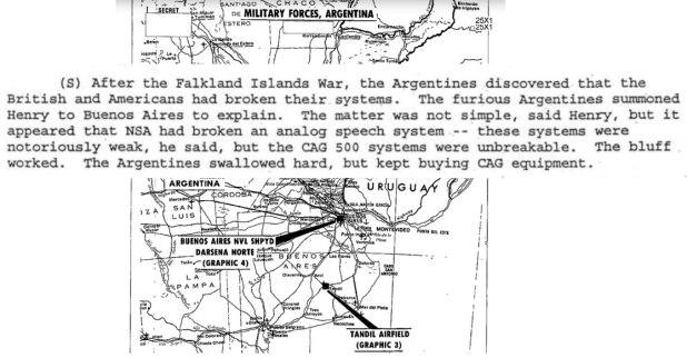 Los documentos secretos de la CIA muestran que los militares argentinos sospecharon tras la derrota, pero un cientifico espía los convenció de la seguridad de los dispositivos. (The Washington Post)