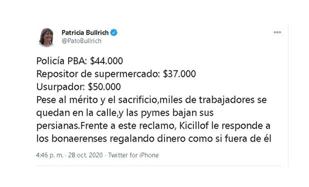 Patricia Bullrich tuit