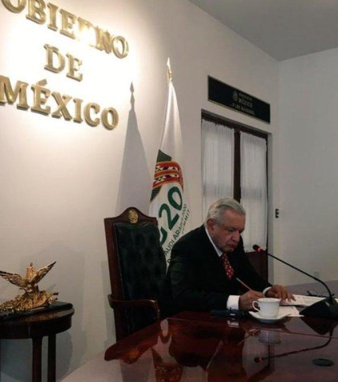 El presidente de México, Andrés Manuel López Obrador, participó este sábado en la reunión del grupo del G-20 (Foto: @GMarquezColin)