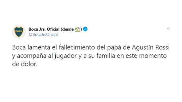 Comunicado Boca fallecimiento de padre de Agustín Rossi