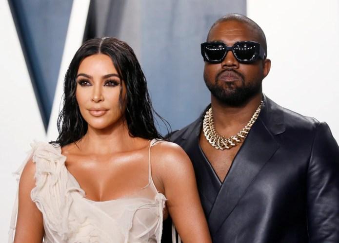 Kim Kardashian y Kanye West, en la fiesta de los Oscar de Vanity Fair en Beverly Hills durante la 92ª entrega de los premios de la Academia (REUTERS)