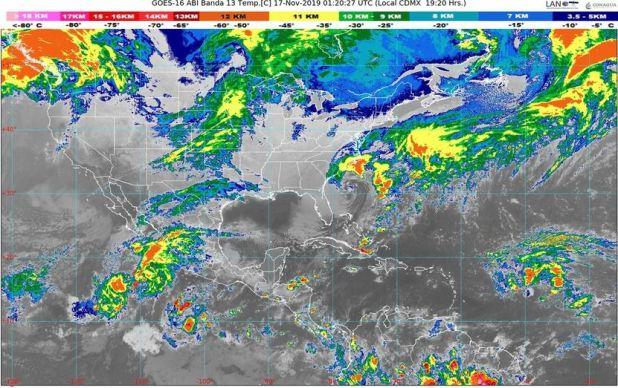 El paso de la lluvia en el territorio mexicano previsto para el domingo 17 de noviembre (Foto: SMN)