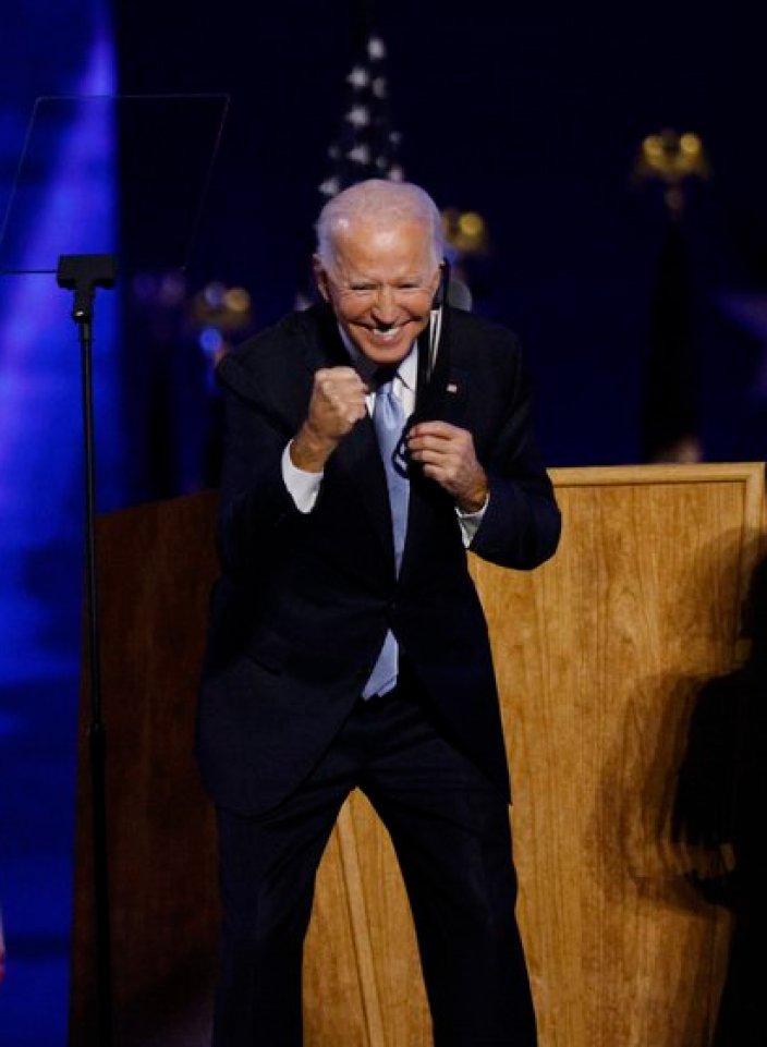 Joe Biden dio su primer discurso como presidente electo frente a sus seguidores en Wilmington, Delaware (Foto: REUTERS/Jim Bourg)