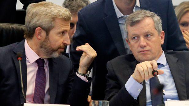 Rogelio Frigerio y Emilio Monzó, dos de los dirigentes que trabajan en la conformación de un espacio interno con identidad peronista (NA)