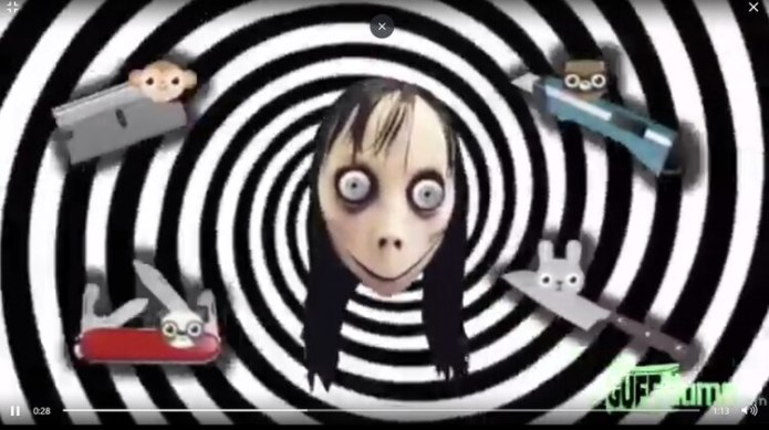 Una captura del mensaje de Momo que se ve en un video infantil.