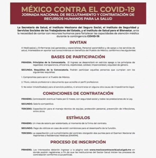 Esta es la convocatoria de la SSa (Foto: Secretaría de Salud)