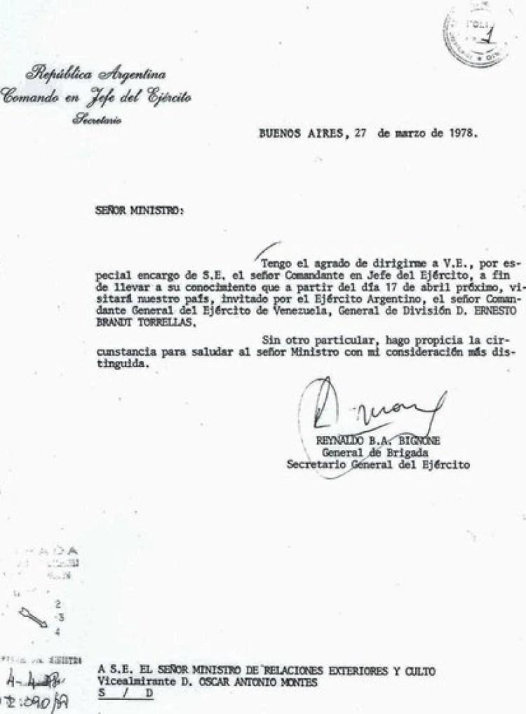 El archivo histórico de Argentina guarda la invitación al GD Brandt Torrelles