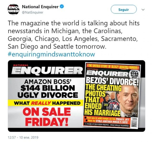 El National Enquirer difundió su investigación en las redes sociales