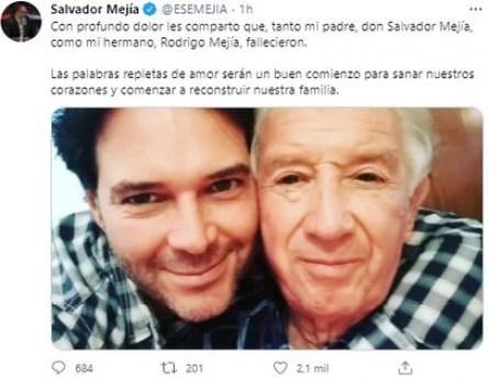 Salvador Mejía, director de Asimetrics y colaborador de MVS, compartió la triste noticia a través de su cuenta de Twitter (Foto: Twitter Salvador Mejía)