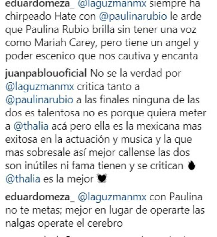 A los fans de Paulina no les gustó el comentario de Guzmán