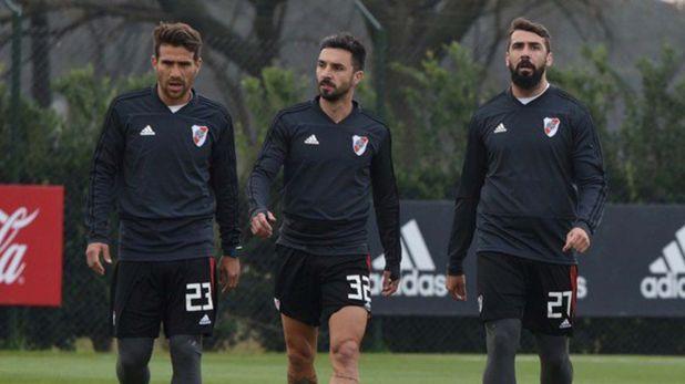 Scocco y Pratto serán titulares ante Arsenal, mientras que Ponzio volverá de España el jueves por la noche y difícilmente juegue desde el inicio (Prensa River)