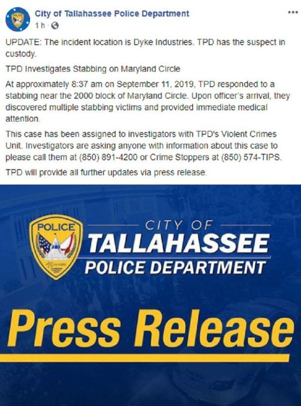 """El Departamento de Policía de la ciudad acudió a la escena y halló """"múltiples personas apuñaladas"""", según figura en el informe (Foto: Facebook City of Tallahassee Police Department)"""