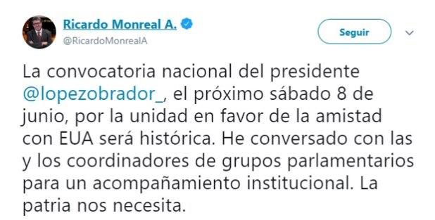 El senador de Morena, Ricardo Monreal, dijo que la reunión sería histórica (Foto: Twitter)
