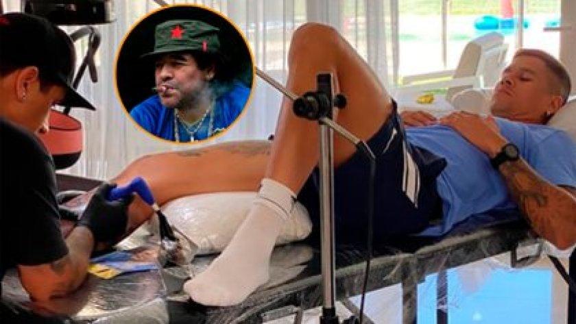 Marcos Rojo y un tatuaje especial en proceso, con Maradona como protagonista
