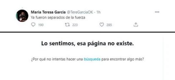 María Teresa García tuiteó que los uniformados habían sido separados de la fuerza, pero más tarde borró la publicación