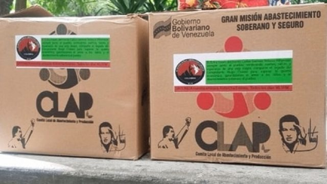 Cajas CLAP de alimentos que reparte el régimen de Maduro