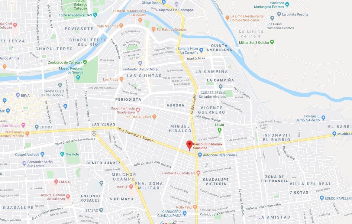 La sucursal bancaria robada se localizada en la avenida Francisco I. Madero, en la colonia Miguel Hidalgo, en Culiacán, Sinaloa Foto: (Maps)