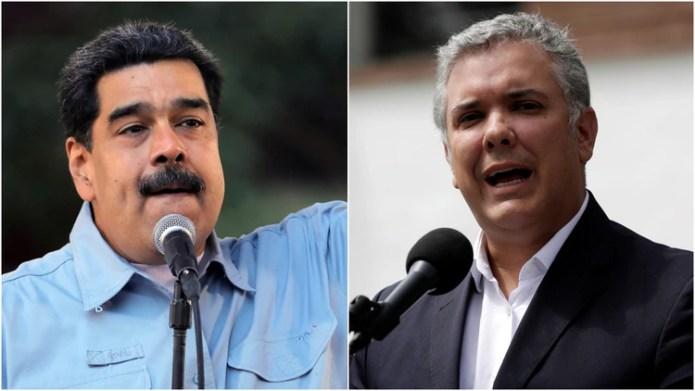 Nicolás Maduro, líder chavista, e Iván Duque, presidente de Colombia