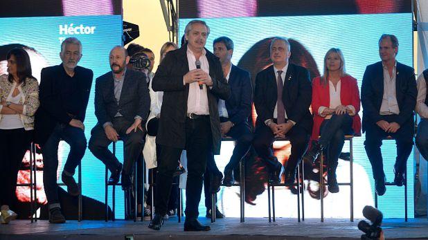 Alberto Fernández y Cristina Kirchner en su tercer acto juntos, en Santa Rosa (Gustavo Gavotti)