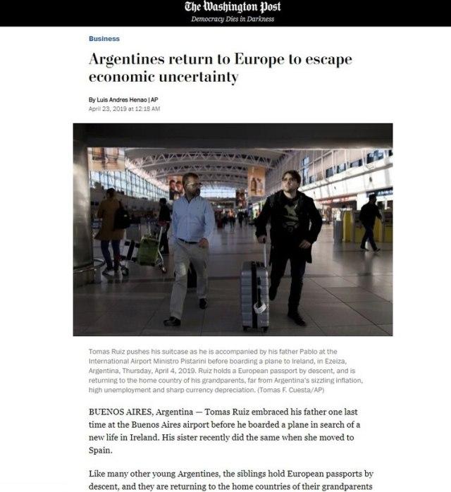 El New York Times replicó la nota de AP que afirmaba que cada vez más argentinos elegían vivir en Europa para escapar de la crisis