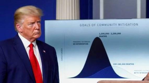Trump, junto a proyecciones de la posible cantidad de muertes (Reuters/archivo)