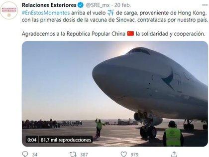 Hasta ahora México es el único país que cuenta con dos vacunas chinas, (Foto: Twitter/@SRE_Mx)