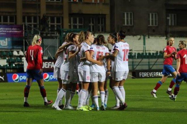 22/10/2020 Las jugadoras de la selección española femenina celebran uno de sus goles ante la República Checa EUROPA DEPORTES REPÚBLICA CHECA RFEF