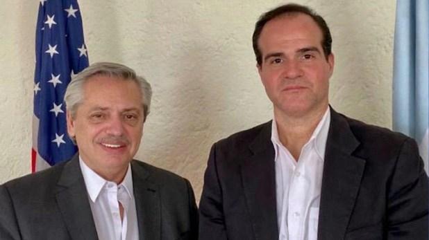 Alberto Fernández y Mauricio Claver, candidato de Donald Trump a la Presidencia del Banco Interamericano de Desarrollo (BID)