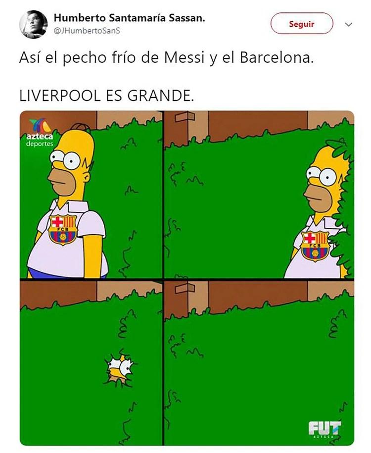 El Homero Simpson hincha del Barcelona se esconde por la vergüenza