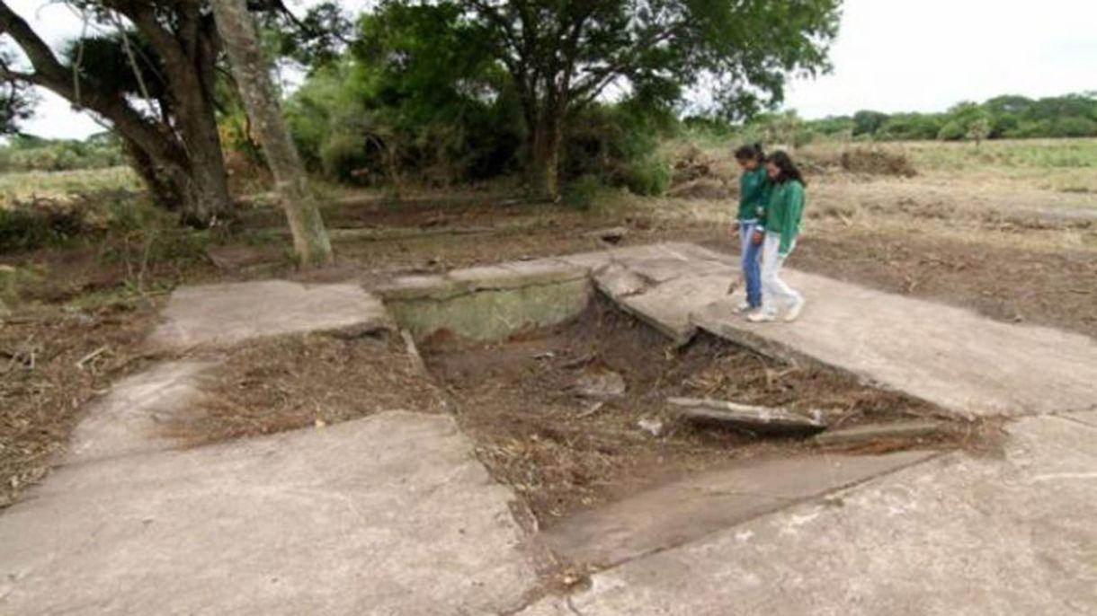 Los restos de la base de lanzamiento en Lapachito