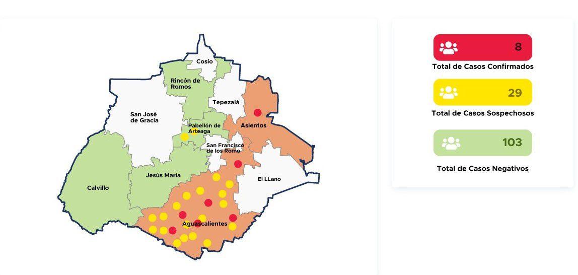 Casos confirmados, sospechosos, y negativos en el estado de Aguascalientes, México, el 24 de marzo (Foto: aguascalientes.gob.mx)