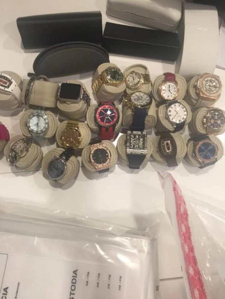 Los relojes incautados a Samark López