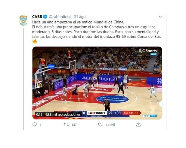 tuit de la CABB sobre el aniversario del subcampeonato de la Seleccion de Basquet