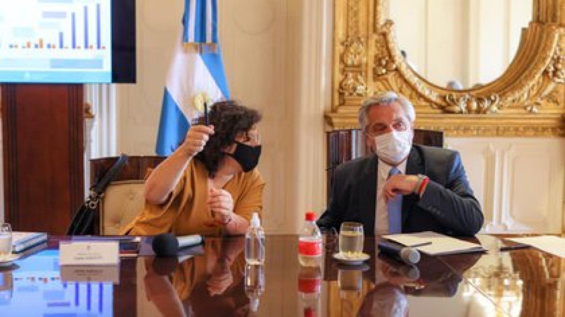 Alberto Fernández y Carla Vizzotti en la Casa Rosada. (Presidencia)