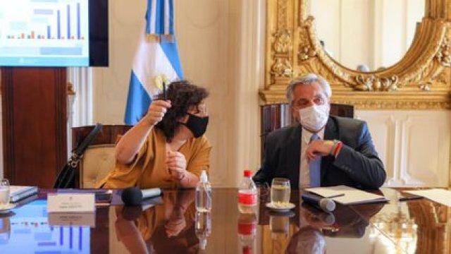Alberto Fernández y Carla Vizzotti en la Casa Rosada