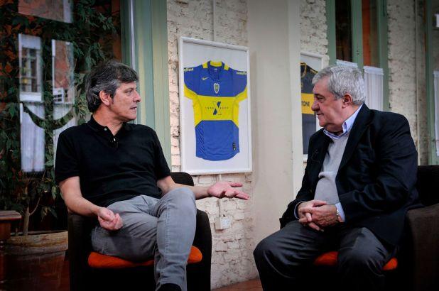 Mario Pergolini junto a Jorge Ameal en el búnker de Juntos por Boca
