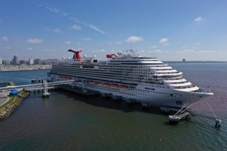 Carnival Panorama cruise ship is docked, with no passengers, as the global outbreak of coronavirus disease (COVID-19) continues, in Long Beach, California, USA, on April 16, 2020