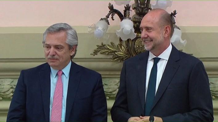 El presidente Alberto Fernández con Omar Perotti, gobernador de Santa Fe