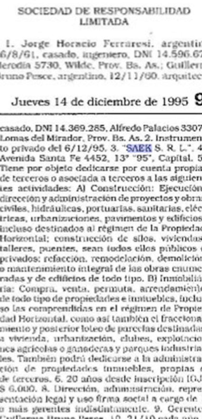 El Boletín Oficial de diciembre de 1995 en que apareció publicada la constitución de SAEK SRL, y aparece Ferraresi como socio fundador.