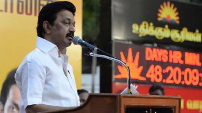 Muthuvel Karunanidhi Stalin in campaign (Arun SANKAR / AFP (