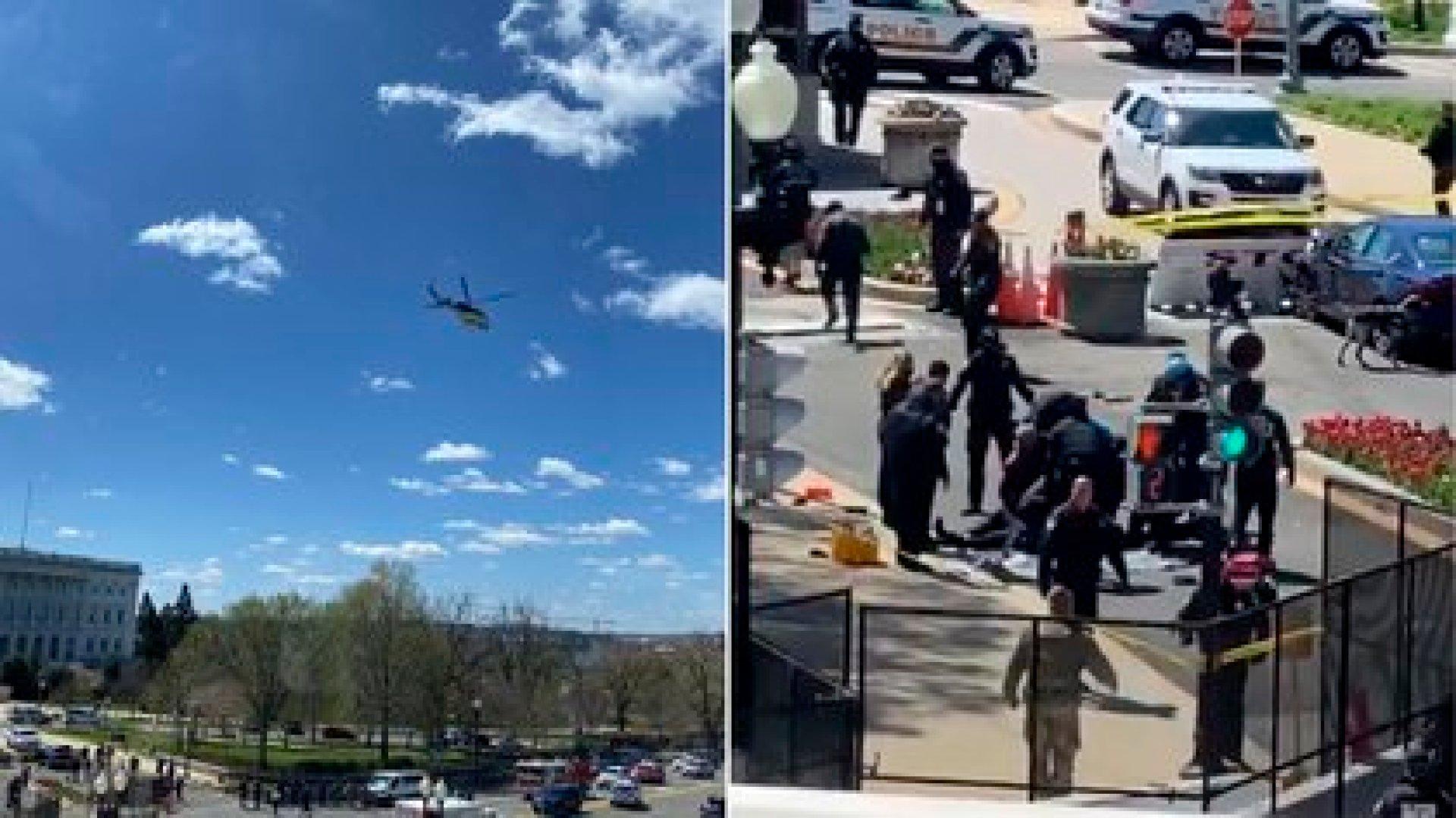 Dos imágenes de lo ocurrido en el Capitolio