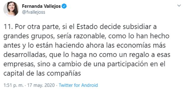 Uno de los tuits de Fernanda Vallejos que generó polémica